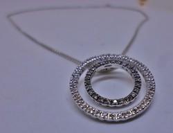 Szép nagy modern karikás ezüst nyaklánc
