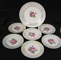 Rózsás porcelán süteményes készlet 6 tányér + kínáló tál