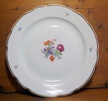 Hatalmas virágos aranyozott porcelán  kínáló , asztalközép