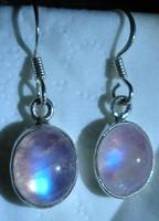 925 ezüst fülbevaló szivárványos holdkővel, pink