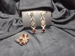 Antik ezüst fülbevaló és gyűrű