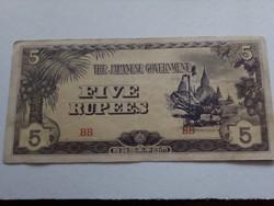 5 Rupia Japán megszállási pénz