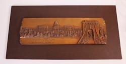 Hatalmas Budapest plakett - R. Kiss Lenke plasztika bronzból