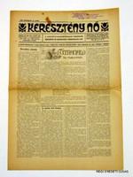 1926 március -  /  KERESZTÉNY NŐ  /  RÉGI EREDETI MAGYAR ÚJSÁG Szs.:  3915