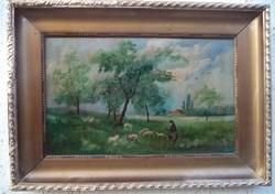 Szinyei olaj karton festmény   Legeltetés a falu szélén