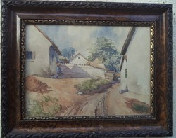 Neogrady Antal festménye: akvarell Falusi utcakép