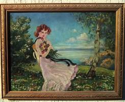 Illencz Lipót Lány virágcsokorral a Balaton partján Nincs minimál ár