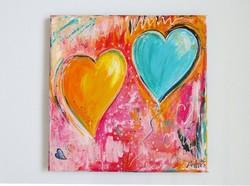***Boldog szívek-egyedi festmény újdonság***