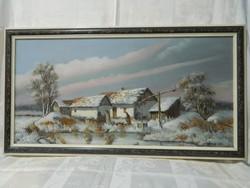 Várhegyi festmény:Téli tanyasi kép