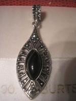 N10 Art decó markazitos ezüstözött függő gagát v. borostyán kővel