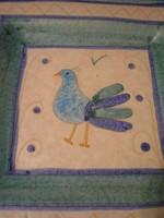 N10 Művészi jelzett madaras kerámia faltál  ritkaság 21,5x 21,5 cm-es