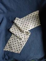 Régi, elegáns kék pöttyös - pettyes sál, kendő,  100 x 16 cm