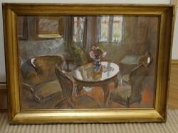 Szervánszky Jenő festmény: Enteriör, 1961-ből