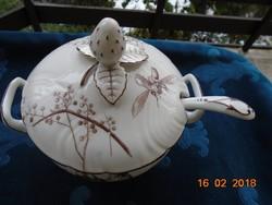 Antik 4 lábas kupola fedeles kínáló eper fogóval madár és rovar minta