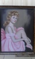 Antik balerina festmény nagyméretű olaj vászon!