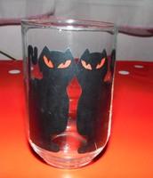 Fekete cicás üvegpohár