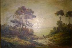 Antik festmény-tájkép 1800-as évekből o.,v. jjl.arany szinű fakeret