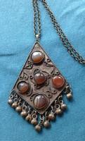 Antik? afgán szép fémműves réz medál nyakék / nyaklánc ásvány / drágakő ACHÁT kézimunka!