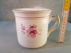 Rózsaszín virágmintás Hollóházi porcelán bögre