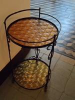 Katedrálüveges gurulós retro kovácsoltvas zsúr asztalka