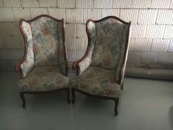 Barokk stílusú 2 db  füles fotel