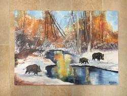 Konda a pataknál.70x50 cm, szép kortárs festmény,szignózott.kép