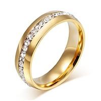 Arany színű nemesacél cirkon köves gyűrű