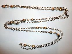 Arany és gyöngy design nyaklánc 160cm