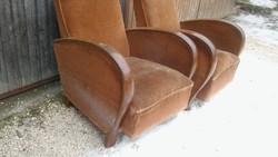 Szép hajlított fa karfás antik art deco fotel kivehető ülőlappal