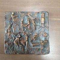 Régi Röperwerk szocreál fali bronz plakett