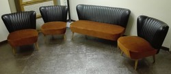 Retro mini design klub garnitúra, koktél fotelek, kanapéval