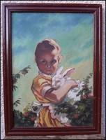 Kislány nyúllal - csodás olajfestmény  ( Repro Varga? )