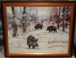 Konda a hóban c. eredeti Papp Tünde olaj-vászon festmény