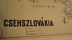 TÉRKÉPGYŰJTŐK ! Régi, (1949) kézi grafikai térkép nyomata papírra,CSEHSZLOVÁKIÁRÓL.