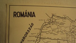 TÉRKÉPGYŰJTŐK ! Régi, (1949) kézi grafikai térkép nyomata papírra,ROMÁNIÁRÓL.