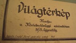 TÉRKÉPGYŰJTŐK ! VILÁGTÉRKÉP ! -Kiadó:Közlekedésügyi Minisztérium IV./8 ügyosztály 1949-ben.