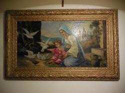 Reményi Géza olajfestménye: Szűz Mária a gyermek Jézussal