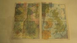 TÉRKÉPGYŰJTŐK! 1972-es kiadású térkép /Ausztria+Svájc/-/Anglia+Írország/néhány tájegységéről.