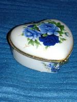 Porcelán csatos szelence, bonbonier