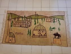 Pécsi Retro kézi csomózású  szőnyeg, faliszőnyeg