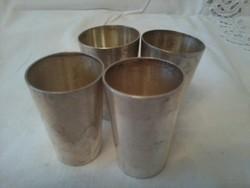 Ezüst pálinkás pohár, vadászkellék, 4 db
