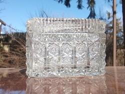 Gyönyörű ólomkristály bonbonos-cukortartó dús csiszolással-ajándékba is
