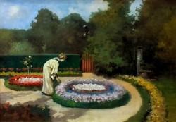 Neogrády Antal (1861-1942): Parkrészlet hölggyel