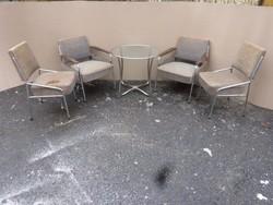 Csővázas Retro fotel, asztal, szék.