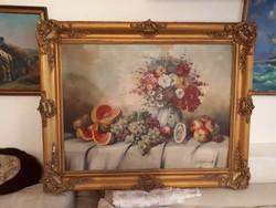Jelzett olajvászon festmény  Székelyhidy blondel keretben