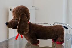 Régi magyar vizsla szalma tömésű plüss állat retro játék
