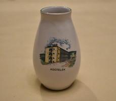 Bodrogkeresztúri porcelán váza vitrindísz Aggtelek felirattal