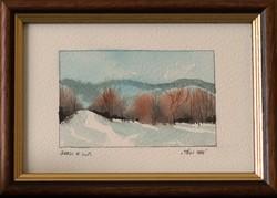 KIÁRUSÍTÁS! Nagyszerű ajándék ötlet! Barsi Ferenc, Mini akvarell kollekció, Téli táj