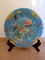 Kézzel festett, hatalmas kínai porcelán tál. Alján dinasztia jelzés. 46 cm