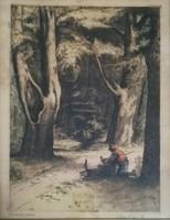 Komjáti-Wanyerka Gyula (1894 - 1958): Rőzseszedő színes rézkarc